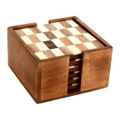 6-Piece White and Wood Checkered Coaster Set in Box