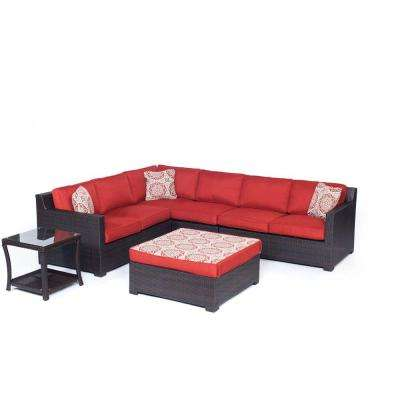 Metropolitan 6-Piece All-Weather Wicker Patio Deep Seating Set with Autumn Berry Cushions