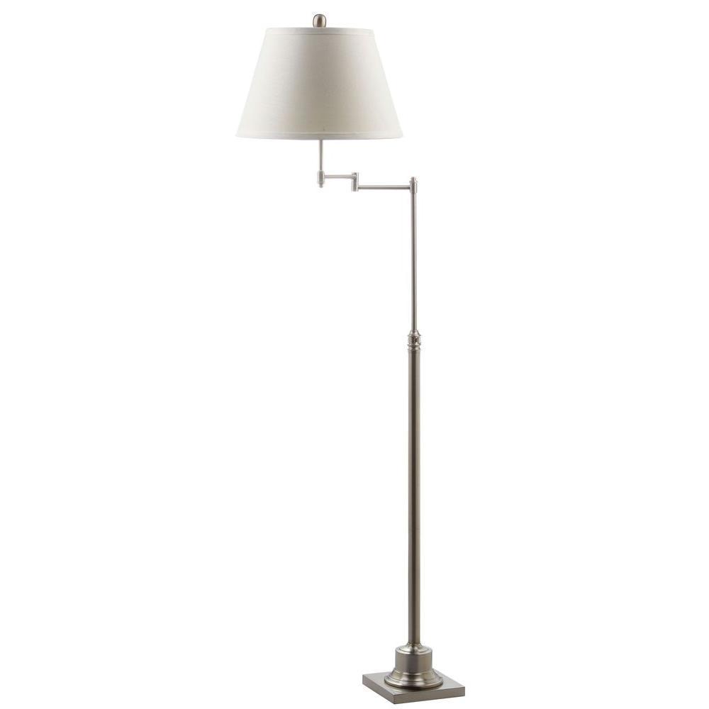 Safavieh Parker 60 in. Nickel Swivel Floor Lamp with Off-White ...