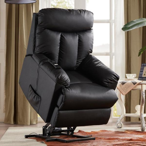 Black PU Leather Recliner Power Lift Chair