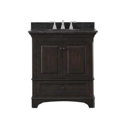Moorpark 31 in. W Bath Vanity in Burnished Walnut with Granite Vanity Top in Brown with White Basin