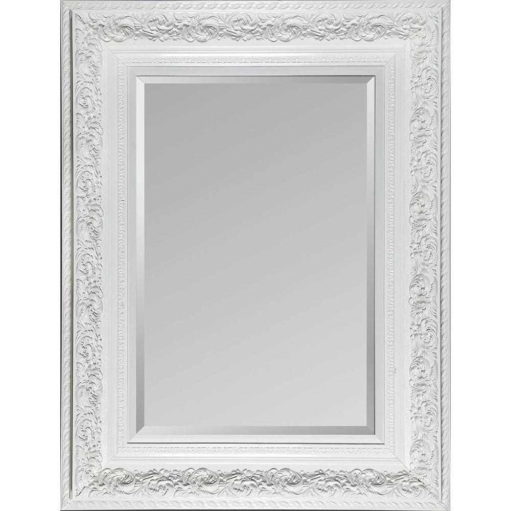 Filament Design Luna 54 in. x 42 in. Ornate White Framed Mirror