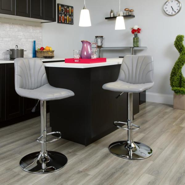 Flash Furniture 33.25 in. Adjustable Height Gray Cushioned Bar Stool DS8220GY
