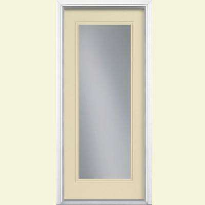 32 in. x 80 in. Full Lite Golden Haystack Left Hand Inswing Painted Smooth Fiberglass Prehung Front Door w/ Brickmold