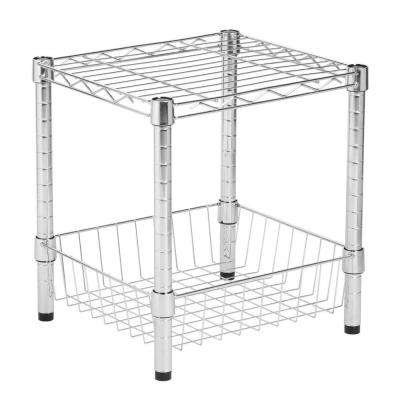 16 in. H x 15 in. W x 14 in. D 1-Shelves Commercial Metal Table Free Standing Shelves with Basket in Chrome