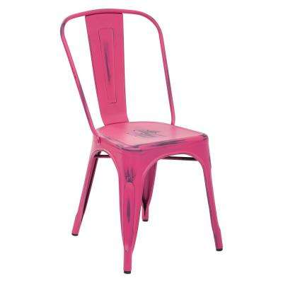 Bristow Antique Pink Armless Metal Chair (4-Pack)