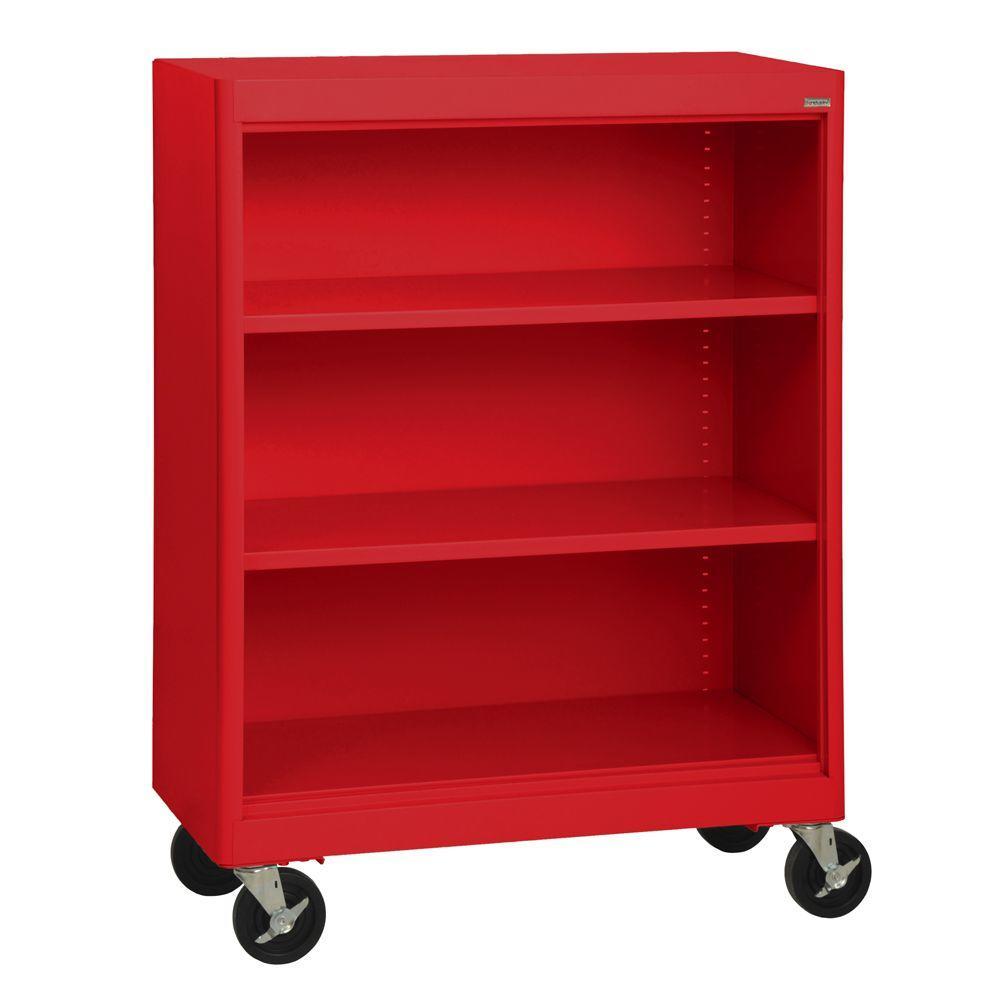 Radius Edge Red Mobile Steel Bookcase