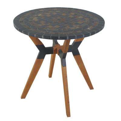 Round 30 in. Rustic Slate Eucalyptus and Metal Outdoor Bistro Table