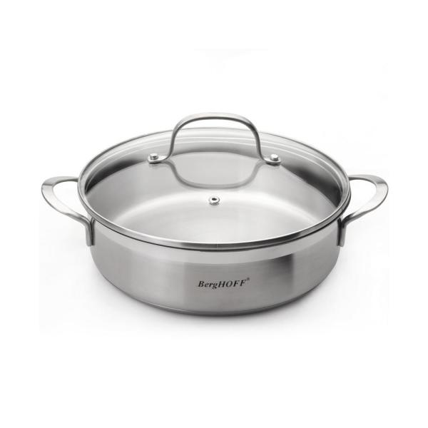 BergHOFF Essentials 2.9 Qt. Stainless Steel Covered 2-Handle Deep Skillet