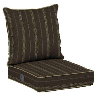 Trevor Stripe Espresso Adjustable Comfort 2-Piece Deep Seating Outdoor Lounge Chair Cushion