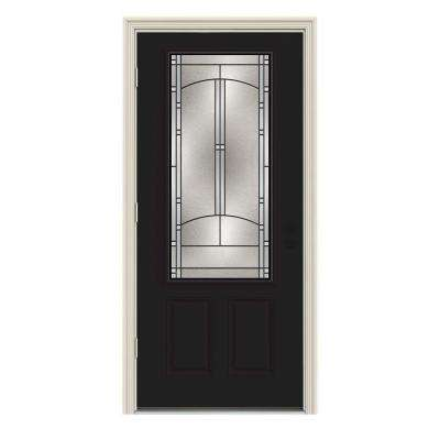 36 in. x 80 in. 3/4 Lite Idlewild Black w/ White Interior Steel Prehung Right-Hand Outswing Front Door w/Brickmould