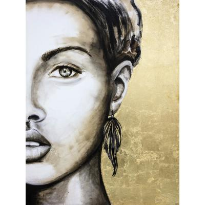 """36 in. x 48 in. """"Mysterious"""" by Jade Printed and Painted Canvas Wall Art"""