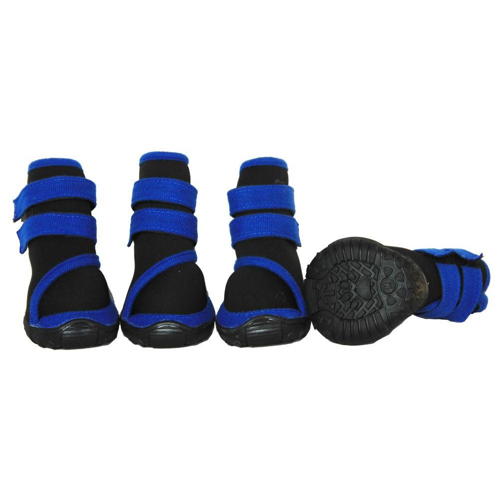 Large Black/Blue Performance-Coned Premium Stretch Supportive Dog Shoes (Set of