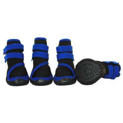 Large Black/Blue Performance-Coned Premium Stretch Supportive Dog Shoes (Set of 4)