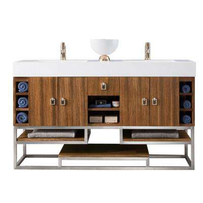 Tahoe 59 in. Double Bath Vanity in Natural Zebrano Wood with Solid Surface Vanity Top in Matte White with White Basin