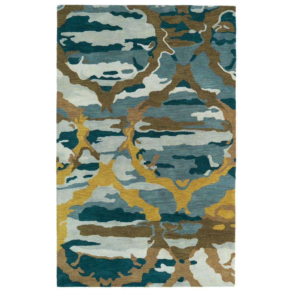 Brushstrokes Blue 2 ft. x 3 ft. Area Rug