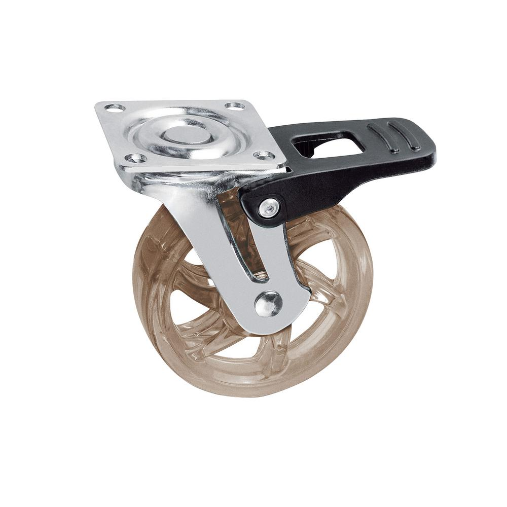 1-31/32 in. Smoke Swivel with Brake Plate Caster, 66.1 lb. Load