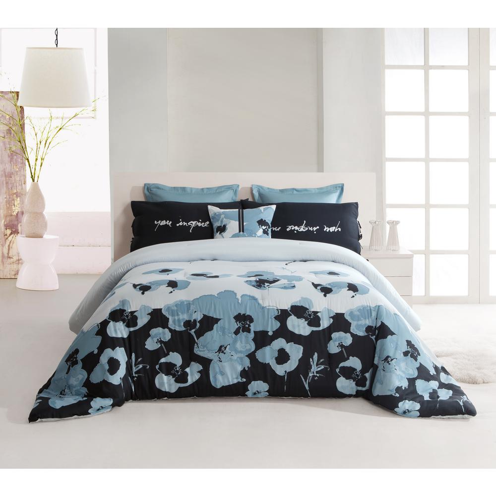 Blue Poppy Queen Comforter 300 Thread Count in Multi