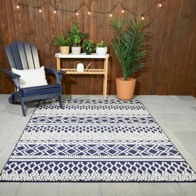 Tribal Pattern Navy/White 5 ft. x 7 ft. Striped Indoor/Outdoor Area Rug