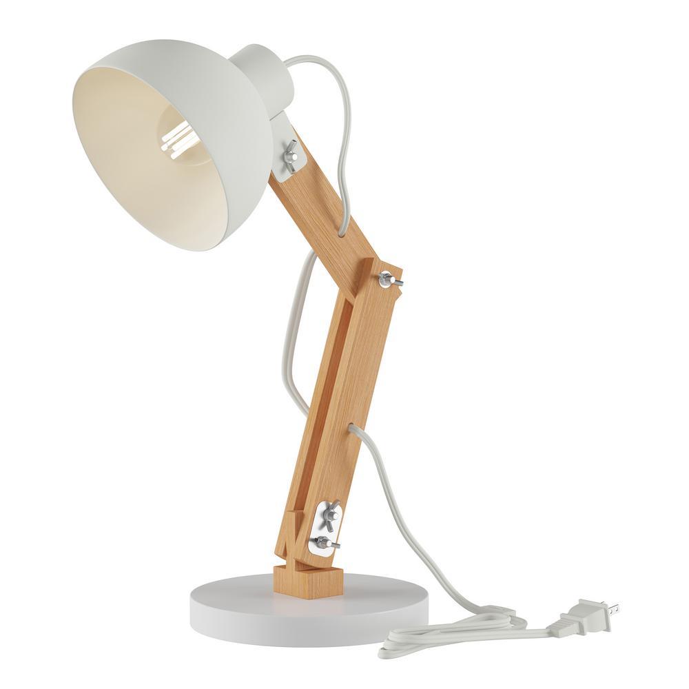 White Swing Arm Led Architect Desk Lamp With Wood Base