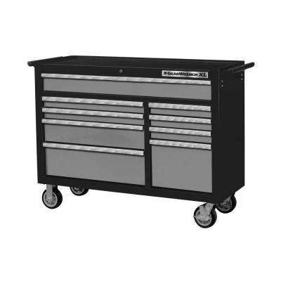 XL Series 53 in. 9-Drawer Roller Cabinet, Black/Silver
