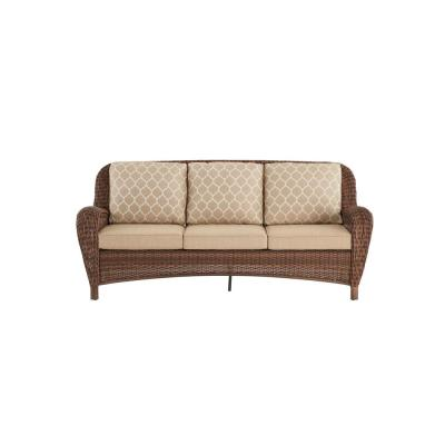Beacon Park Brown Wicker Outdoor Patio Sofa with CushionGuard Toffee Trellis Tan Cushions