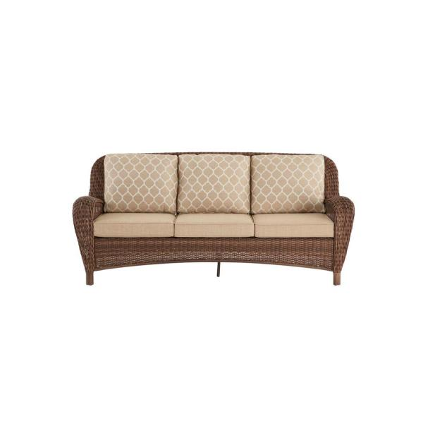Beacon Park Brown Wicker Outdoor Patio Sofa with Standard Toffee Trellis Tan Cushions
