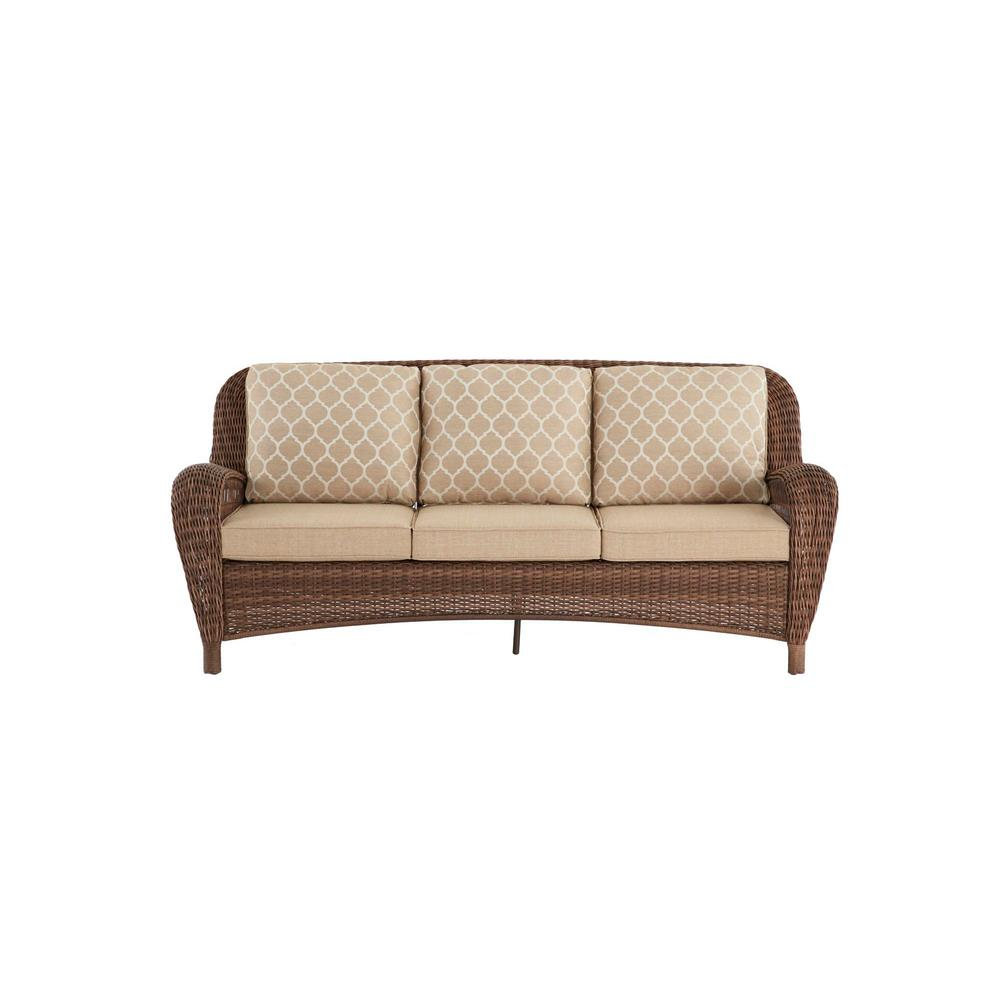 Hampton Bay Beacon Park Steel Wicker Outdoor Sofa with Toffee Trellis  Cushions