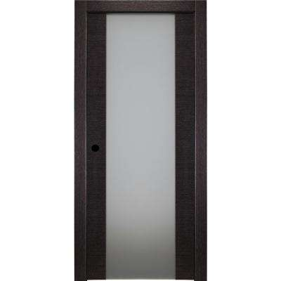 30 in. x 80 in. Avanti 202 Black Apricot Right-Hand Solid Core Wood 1-Lite Frosted Glass Single Prehung Interior Door
