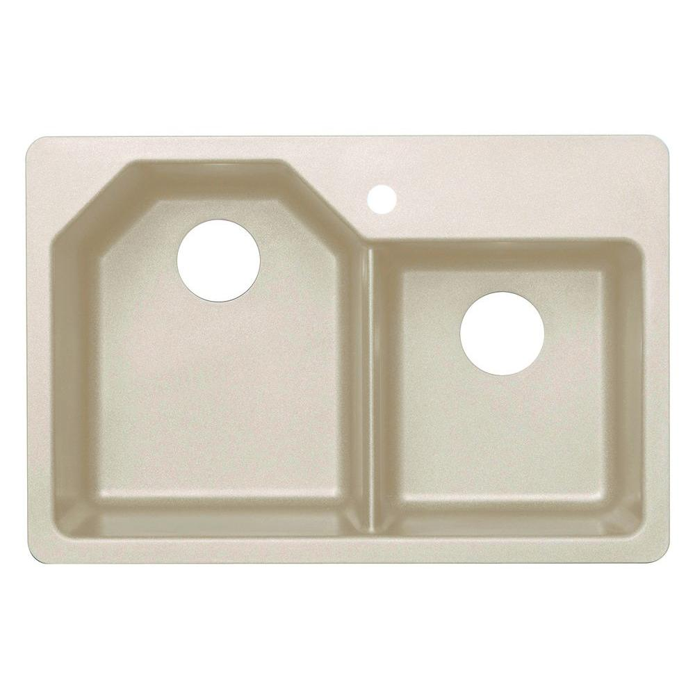 Dual Mount Granite 33 in. 1-Hole Offset Double Bowl Kitchen Sink