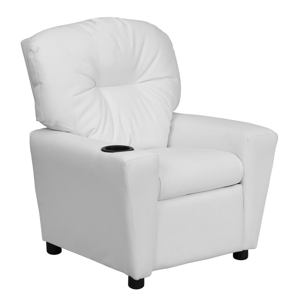 Contemporary White Vinyl Kids Recliner with Cup Holder
