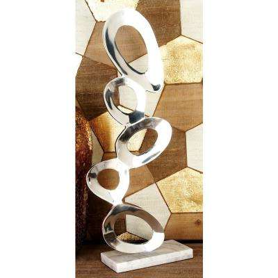 Abstract Aluminum Stacked Ovals Sculpture on Rectangular Marble Base