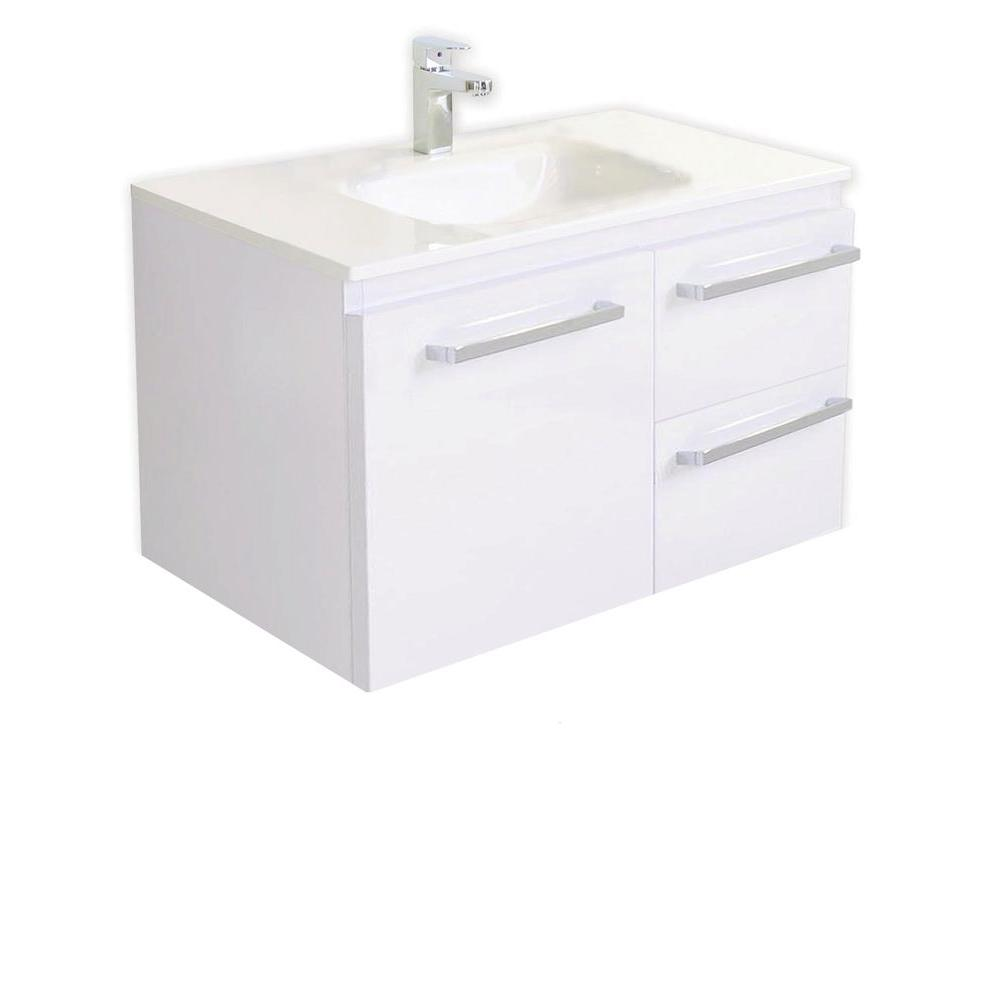 Architectural Designer Products Diana Collection Twin 750 29-1/2 in. Vanity in White with Poly-Marble Vanity Top in White-DISCONTINUED