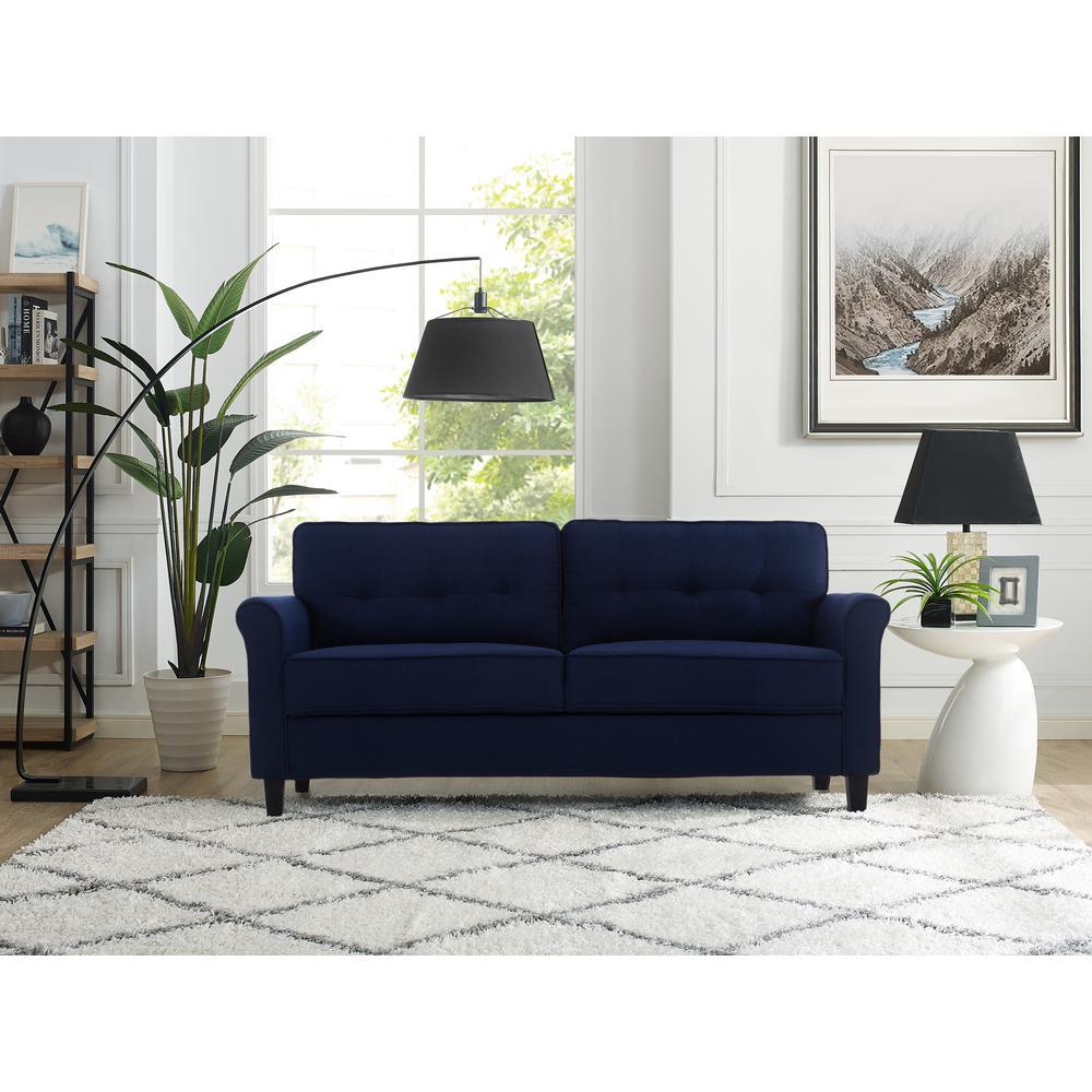 Lifestyle Solutions Harlem Blue Mid Century Modern 3-Seater ...