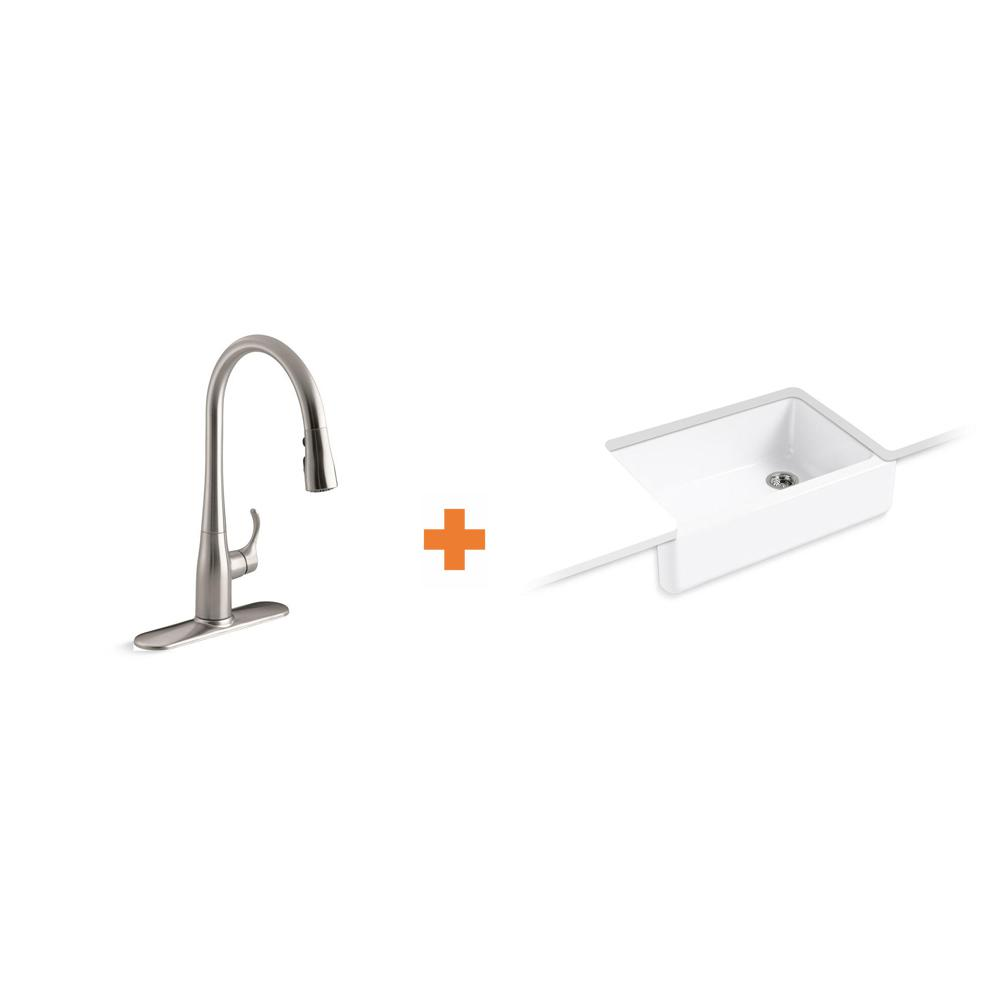 KOHLER Whitehaven All-in-One Undermount Cast Iron 33 in.  Kitchen Sink in White with Faucet in Stainless Steel (2-piece)