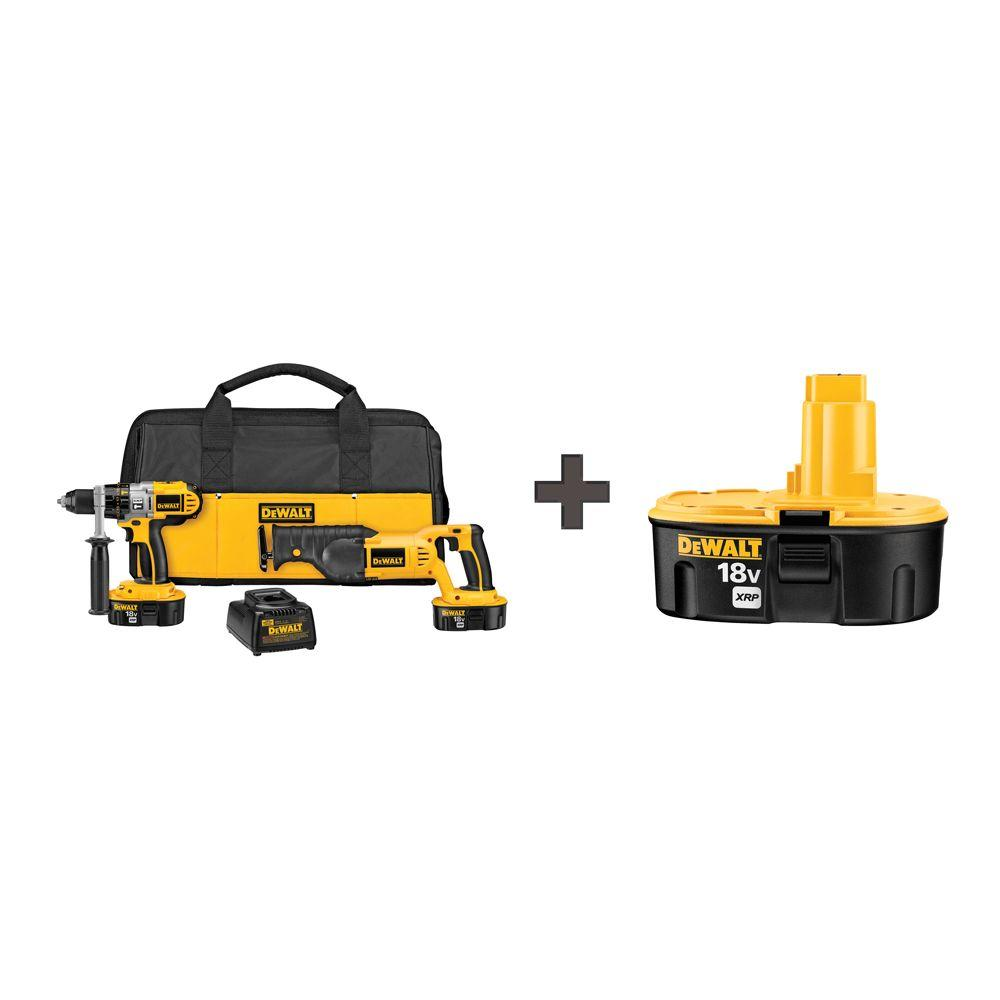 18-Volt XRP NiCd Cordless Combo Kit (2-Tool) with (2) Batteries 2.4Ah,