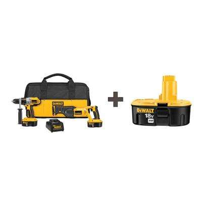 18-Volt XRP NiCd Cordless Combo Kit (2-Tool) with (2) Batteries 2.4Ah, Charger, Contractor Bag and Bonus Battery 2.4Ah
