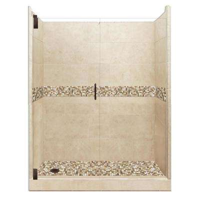 Roma Grand Hinged 30 in. x 60 in. x 80 in. Left Drain Alcove Shower Kit in Brown Sugar and Old Bronze Hardware