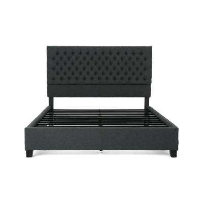 Scout Queen-Size Tufted Dark Gray Fabric and Wood Bed Frame