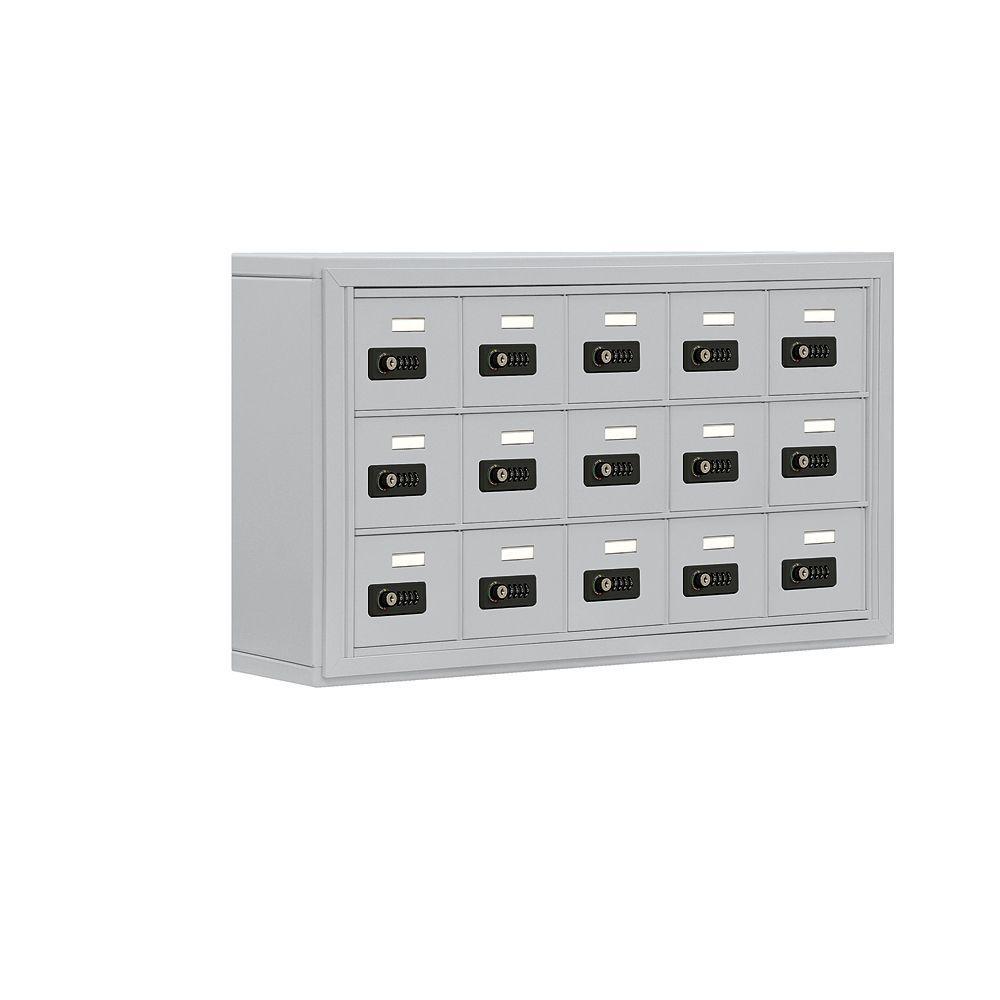 19000 Series 37 in. W x 20 in. H x 6.25 in. D 15 A Doors S-Mount Resettable Locks Cell Phone Locker in Aluminum