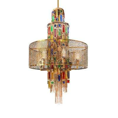 Stained 11-Light Gold Chandelier