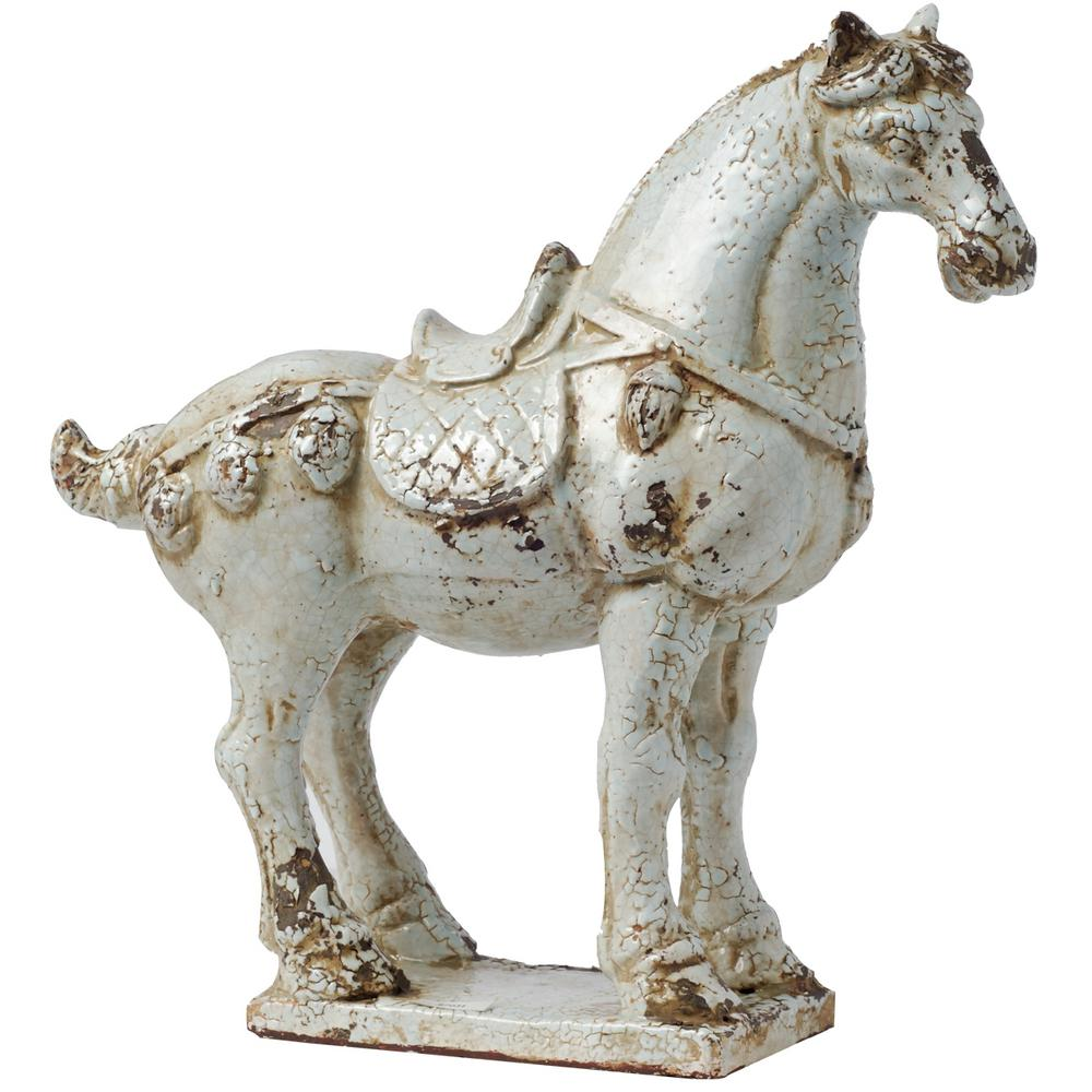 15 in ceramic horse decorative statue 67031 the home depot for Statue decorative d interieur