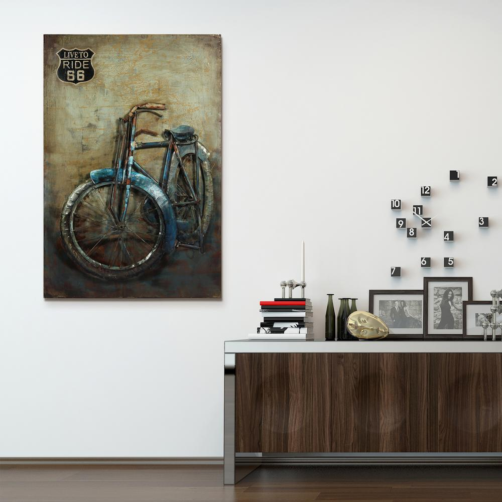 "48 in. x 32 in. ""Live to Ride"" Mixed Media Iron Hand Pain..."