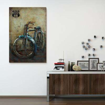 "48 in. x 32 in. ""Live to Ride"" Mixed Media Iron Hand Painted Dimensional Wall Art"