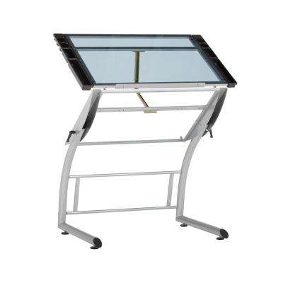 Triflex 35.25 in. W Metal and Glass Craft, Drawing, Drafting Table with Adj. Height and Tilt, Sit or Stand Desk, Silver