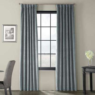 Blackout Signature Natural Grey Blackout Velvet Curtain - 50 in. W x 96 in. L (1 Panel)