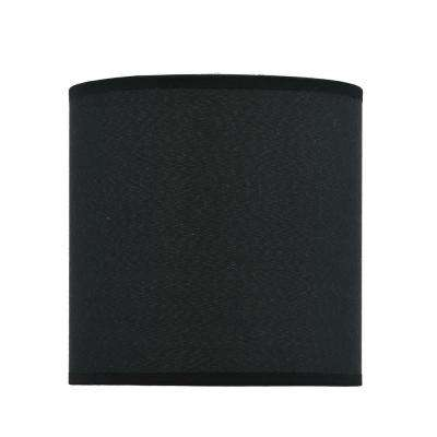 8 in. x 8 in. Black Hardback Drum/Cylinder Lamp Shade