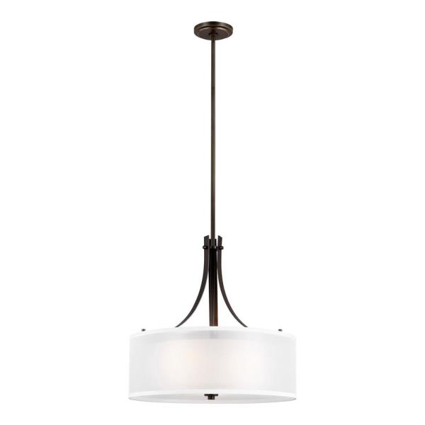 Sea Gull Lighting Elmwood Park 3 Light Heirloom Bronze Pendant With Satin Etched Glass Shade 6537303 782 The Home Depot