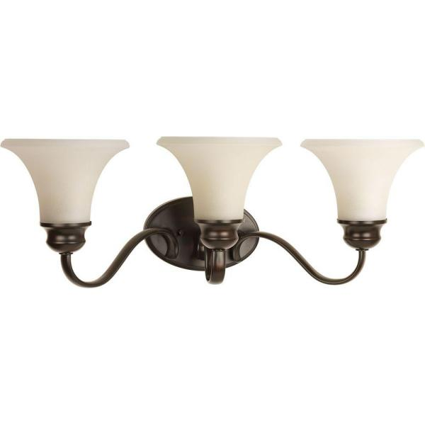 Applause Collection 3-Light Antique Bronze Bathroom Vanity Light with Glass Shades