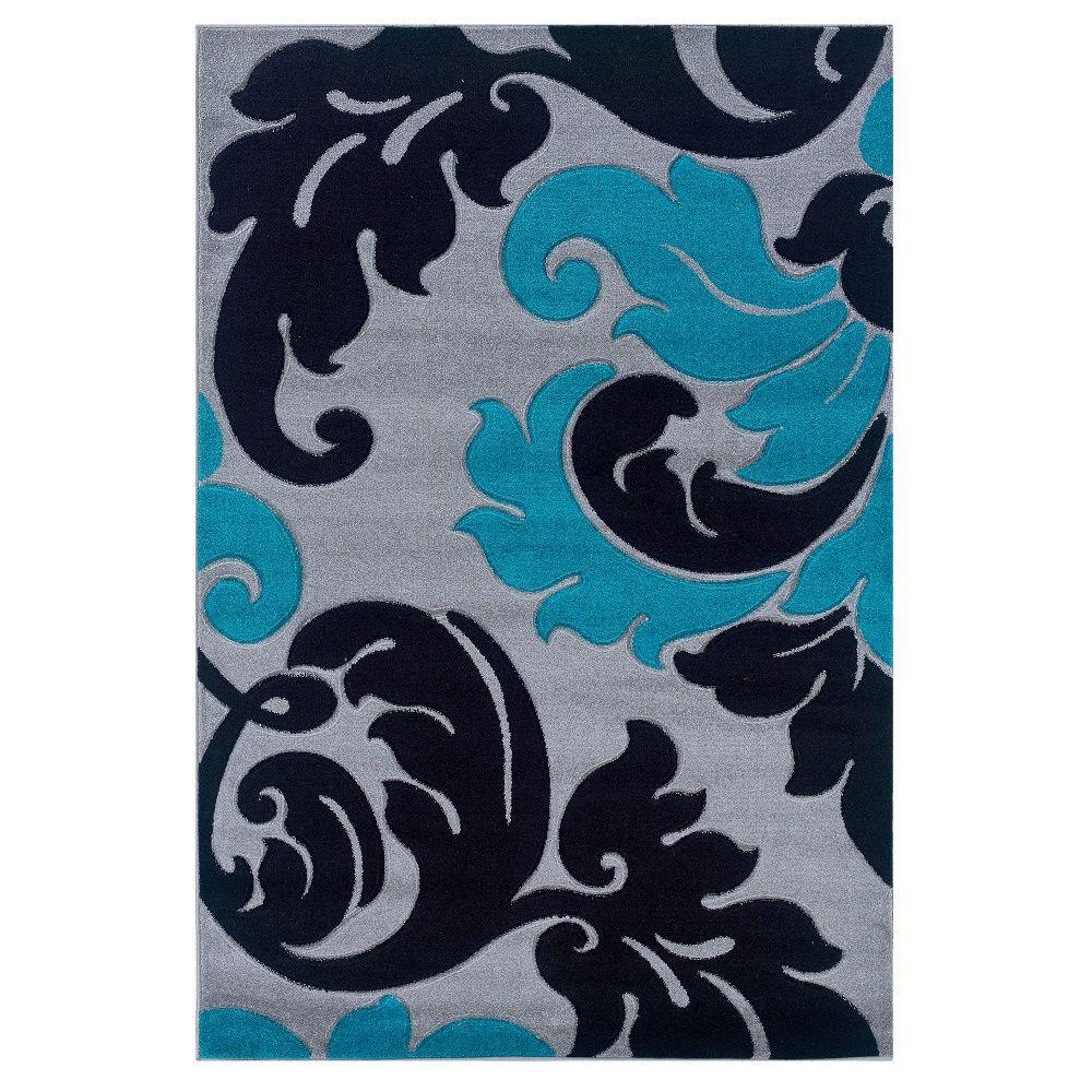 Linon Home Decor Corfu Collection Grey And Turquoise 1 Ft 10 In X 2 Ft 10 In Indoor Area Rug